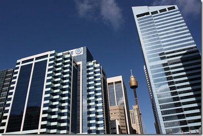 Allianz Building and Center Power Tower from Darling Harbor, Sydney