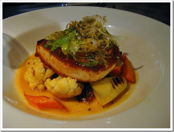 Roasted sword fish with summer vegetables n herb butter broth