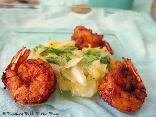 Caribbean Prawns w/ Pineapple Salsa
