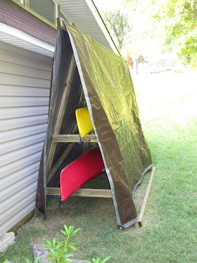 Riding with dogs homemade kayak rack storage unit for Canoe storage shed