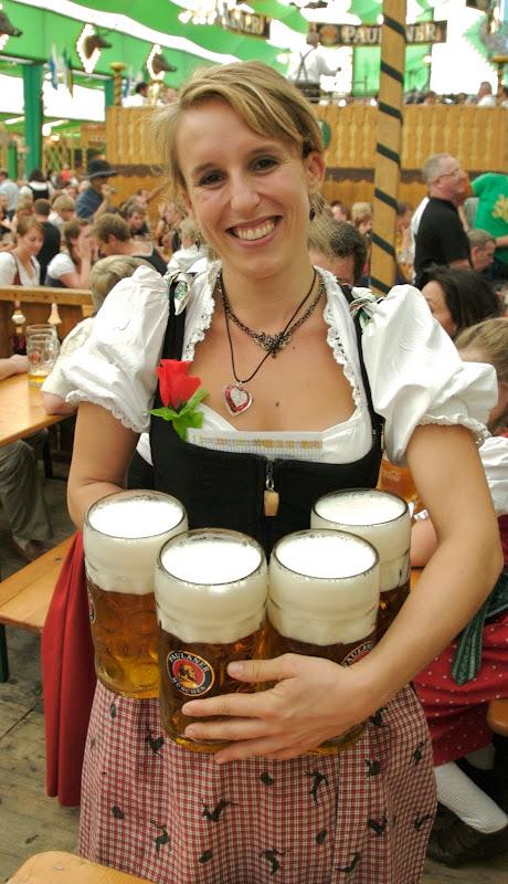 Oktoberfest beers in beer garden in munich