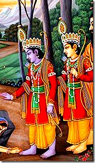 Rama and Lakshmana in the forest with Vishvamitra