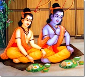 Rama and Lakshmana eating together