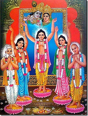 Lord Chaitanya and associates worshiping Radha and Krishna
