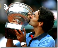 Federer winning the French Open