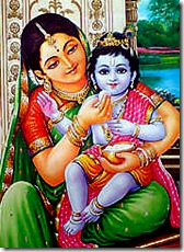 Mother Yashoda feeding Krishna