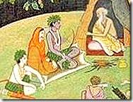 Sita, Rama, and Lakshmana talking with Bharadvaja