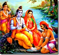 Guha washing Lord Rama's feet
