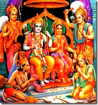 Lord Rama with brothers, Sita, and Hanuman