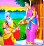 Sita greeting Ravana in the guise of a brahmana