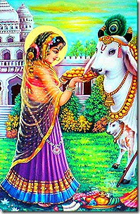 Radharani with cow