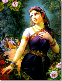 Radharani talking to a bee