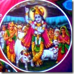 Lord Krishna lifting Govardhana Hill