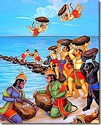 Vanaras building bridge to Lanka