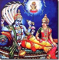 Lakshmi, Vishnu and Brahma