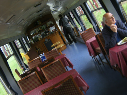 Scotland - The bar coach in the train passing through the Scottish countryside