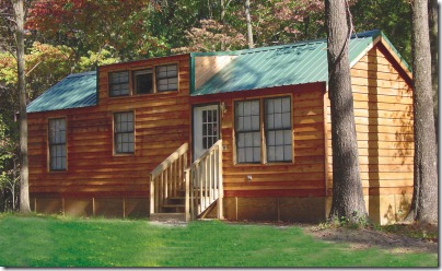 Rental Cabin Exterior at at Lake Rudolph Campground & RV Res