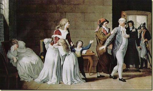 Luis XVI , María Antonieta y sus hijos antes de ser ejecutado.