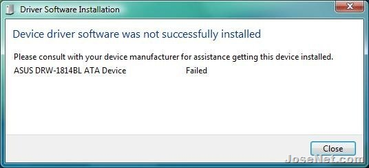 Device Driver Software was not succesfully installed