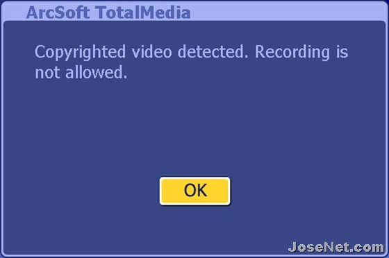 ArcSoft Total Media - Coppyrighted video detected