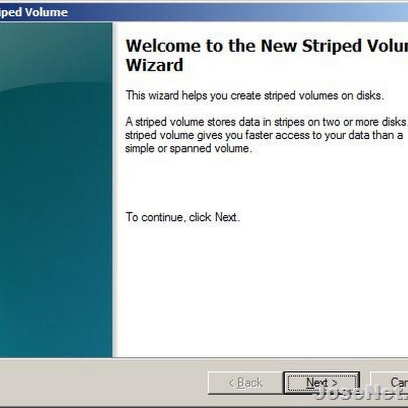 Windows 7 New Striped Volume feature wizard