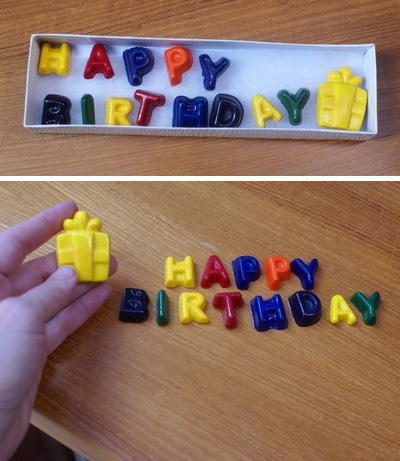 MyKangaroo: HAPPY BIRTHDAY spelled out in assorted colored crayons