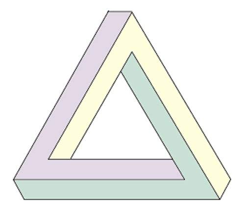 One the most common impossible figure is the Penrose Triangle.
