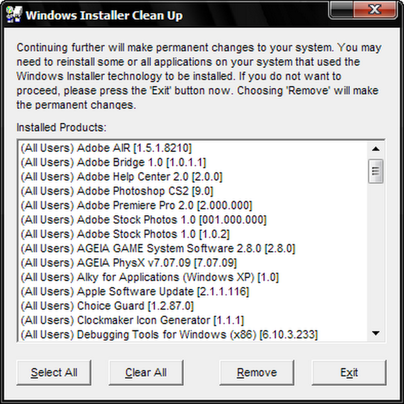 Windows Installer CleanUp Utility removes stubborn Windows applications