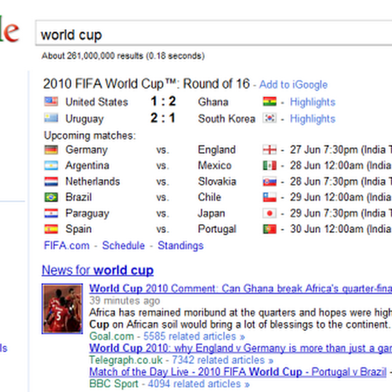 What happens when you search 'world cup' in Google?