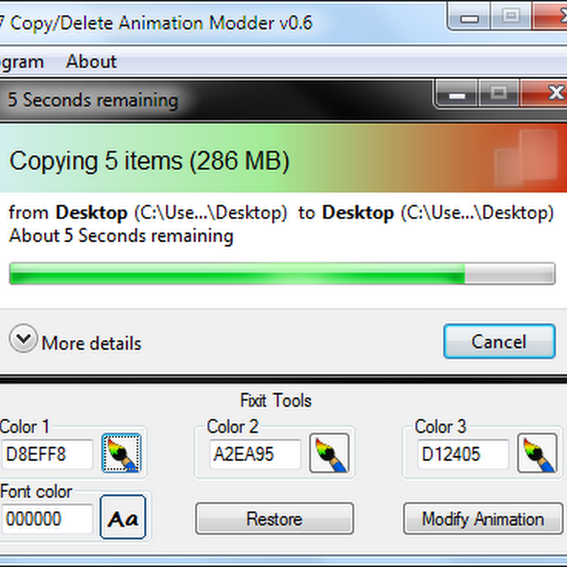 Customize Windows 7 File Copy Dialog Box Animation
