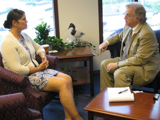 NCUA Board Member Gigi Hyland being interviewed by Federation President/CEO Cliff Rosenthal at her Alexandria Virginia Office
