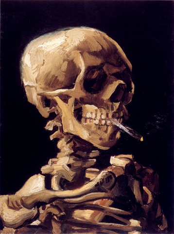 Skull with a Burning Cigar