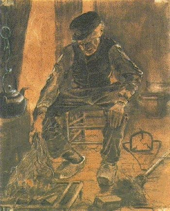 Farmer Sitting at the Fireplace