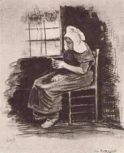 Woman Peeling Potatoes near a Window