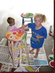 Jayden and Josie Painting their New Chairs.