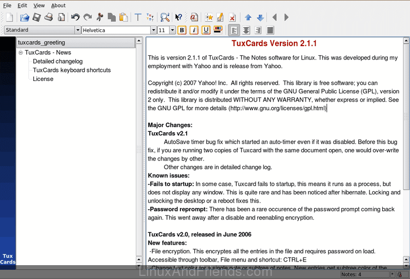 TuxCards note taking software