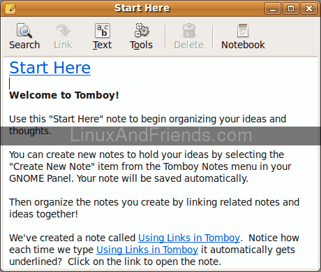 Tomboy note taking software