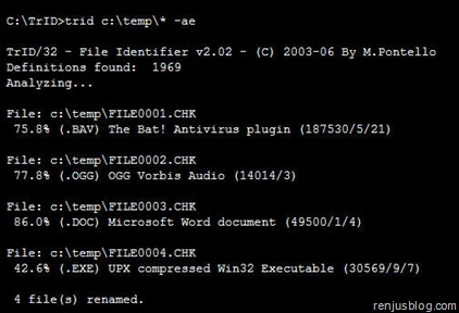 unknows files extension found command line