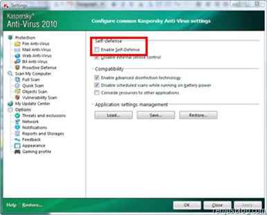 disable self-defense from kaspersky settings