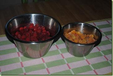 röda och gula hallon