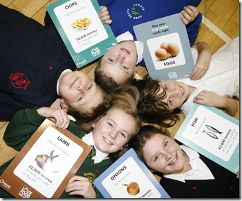 JRO's put their heads together to see how they can waste less food. Clockwise from top Nathan Hocknell aged 10 and Emma Hickson aged 9 both of Rode Heath School,  Francesca Dow aged 10 of Hermitage Primary School, Holmes Chapel, Charlott Williams aged 10 fo Bunbury Aldersey Primary School, and Tommy Chatten aged 10 of Hermitage Primary School.