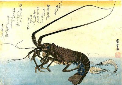 utagawa hiroshige, lobster en 2 garnalen
