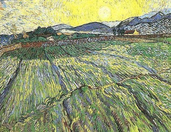 Vincent van Gogh, veld met opkomende zon