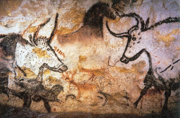 oerossen op rotsschildering in lascaux