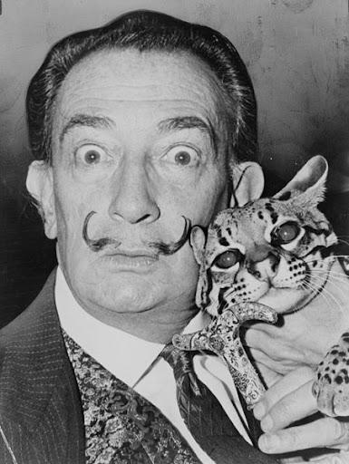 Salvador Dalí met zijn ocelot