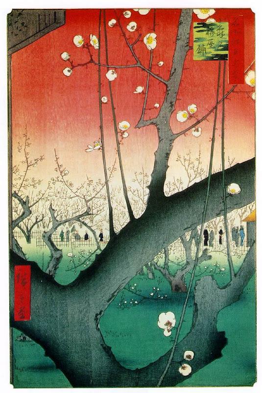 utagawa hiroshige, flowering plum tree