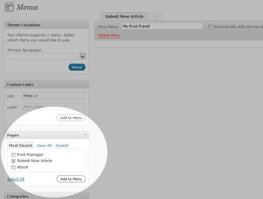 add to menu 1 How to submit a new post from outside the Wordpress Admin panel