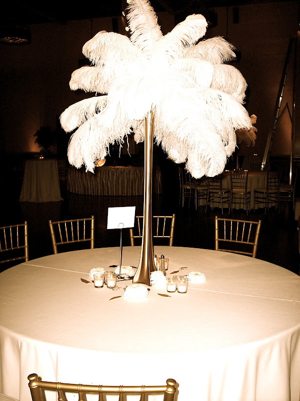 Exquisite Blooms Ostrich Feather Centerpiece