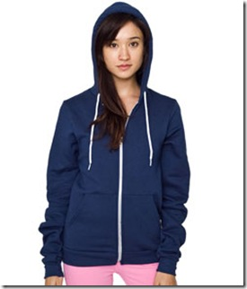 American Apparel Unisex Flex Fleece Zip Hoody Sea Blue