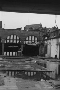 Lancaster's old market after it was gutted by fire